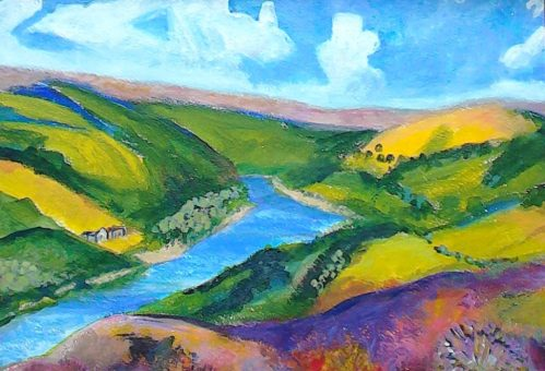A reservoir on the moors in blue , green , and gold in my Gallery  - Landscapes.  Impression  style .