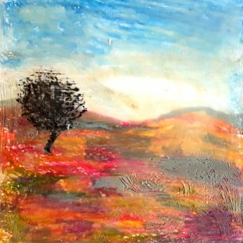A moody , sunset scene , over the moors in encaustic .Learning a new skill on my artistic journey