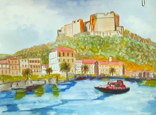 Colourful painting in watercolour of a harbour and a castle on the  Mediterranean coast .