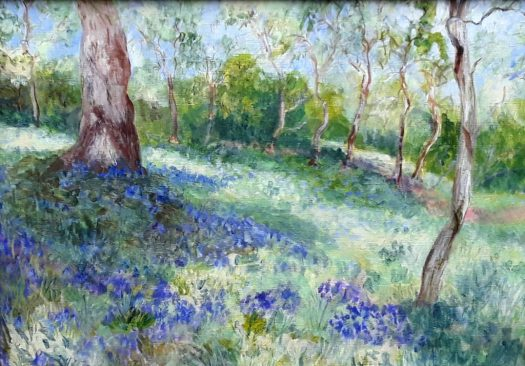 A sea of  bluebells in a wood with the sunlight streaming through , a traditional landscape painting