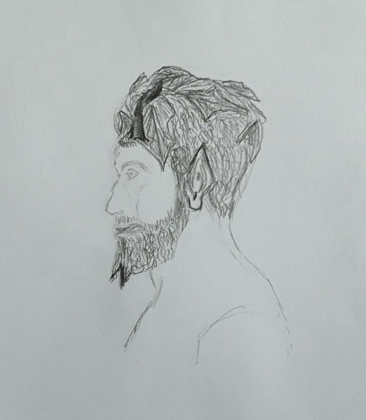 Pencil drawing of the head and shoulders of a ceramic statuette of the  Greek God Pan