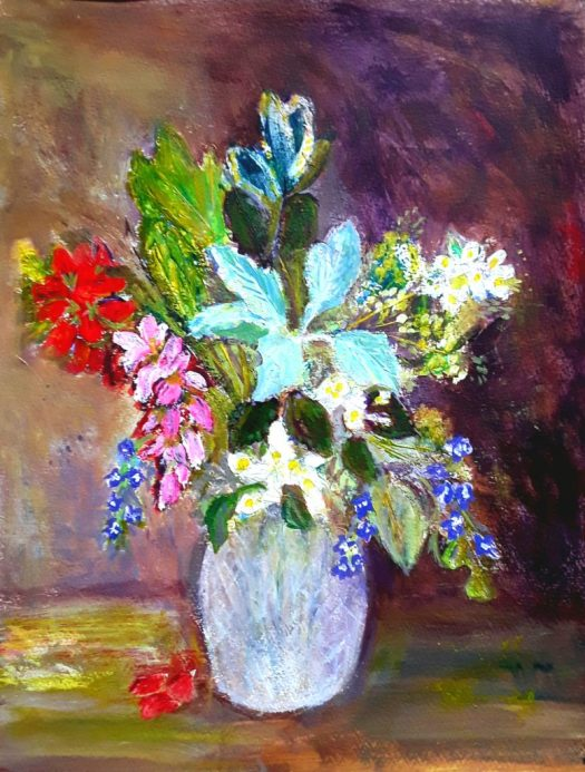 Flowers and foliage in a vase - impressionist flower painting.