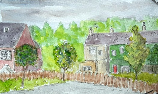 Urban sketching - a view from the car park over the houses to the hill