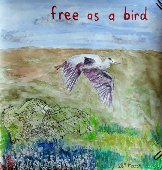 A heron flying over a collaged background  - one of my favourite  art journals pages