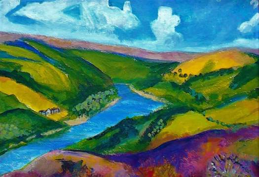 An acrylic painting of a deep blue lake in gentle, rolling Derbyshire  hills.