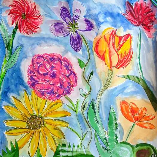 Six large colourful flowers floating in  a blue sky painted in watercolour, oil pastel and pen .