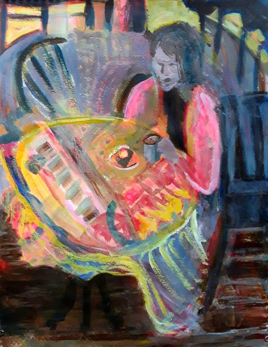 This is an abstract composition with the figure of a young woman emerging from the background, sitting in  a cafe with coffee and cake  .