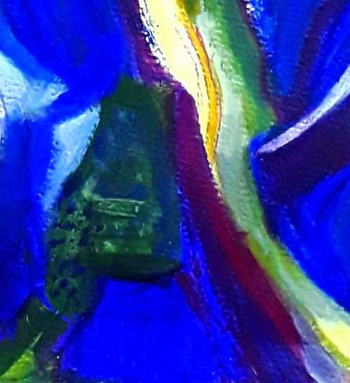 Abstract composition in lemo ,green , ultramarine blue and a touch of  maroon . Big , gestural marks.