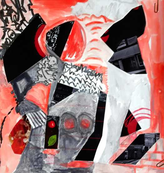 A mixed media abstract composition in red and black.  The black is collaged paper.  The shapes are bold and gestural.