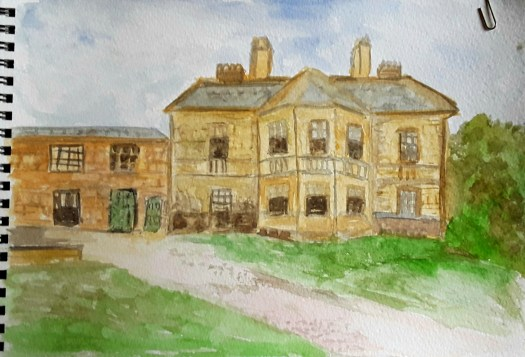 A quick watercolour sketch of Clifton Park Museum -  a  beautiful sandstone mansion. Urban sketching art in Rotherham.