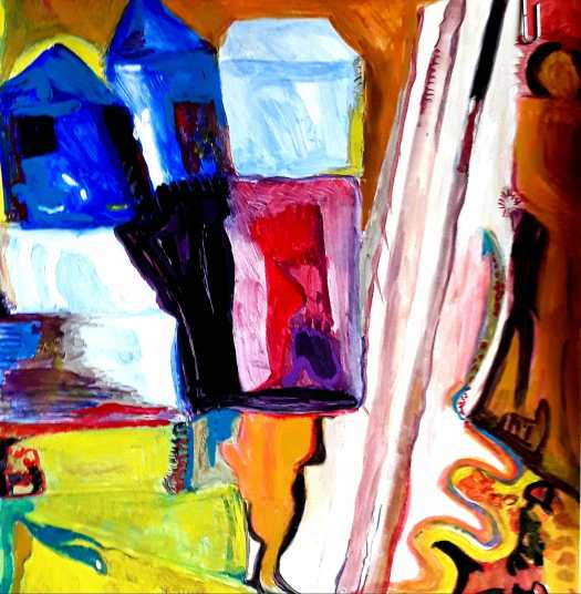 An abstract in  bright jewel like colours divided by a diagonal line. One of my Experiments in gouache.