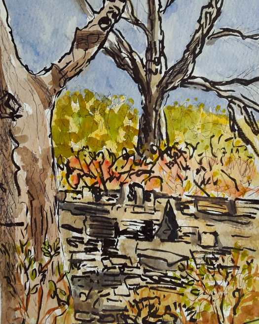 A pen and watercolour sketch in glowing autumn colours.  Plein air sketching in the quarry garden.