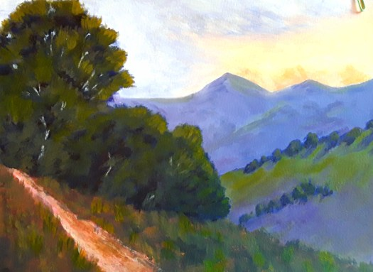 A dreamy view over the beautiful Australian countryside to the distant Mountains m, in the early morning light , one of my acrylic practice paintings.