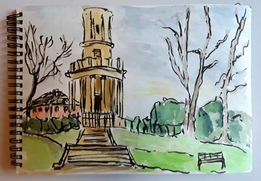 Sketching outside in the town park. Ink and watercolour sketch showing the impressive tower and the grand entrance with a flight of steps.