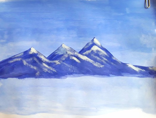 Snow capped Alpine peaks in blue and white - one of my mountain studies.