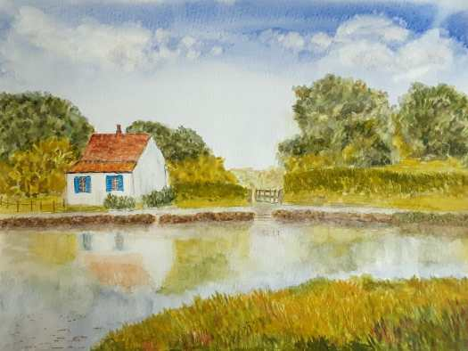 This white English cottage is beside a river, running through a beautiful valley. Watercolour in realistic style.