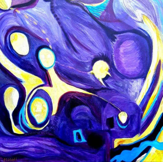 Another purple and yellow abstract,  bold, vibrant colours,  carefully  balanced with a cheerful atmosphere.