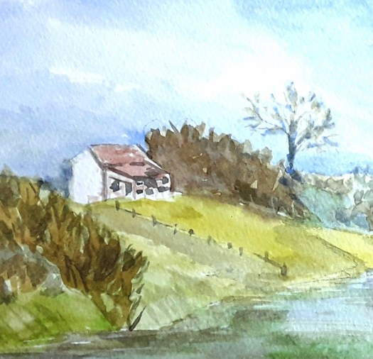 A close up of the scene at Thrybergh, which I did when I was painting outside.  The cafe at the top of the hill, and the path leading down to the water's edge.