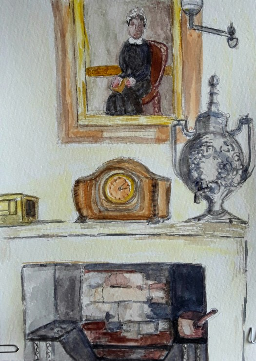 An old fireplace, with an oil painting hanging over the mantelpiece, and a fine wooden clock - a watercolour sketch completed on the spot.