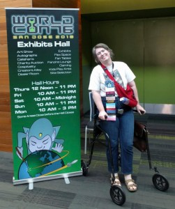 Margaret using her LifeGlider, Grover, at WorldCon76 in San Jose 2018
