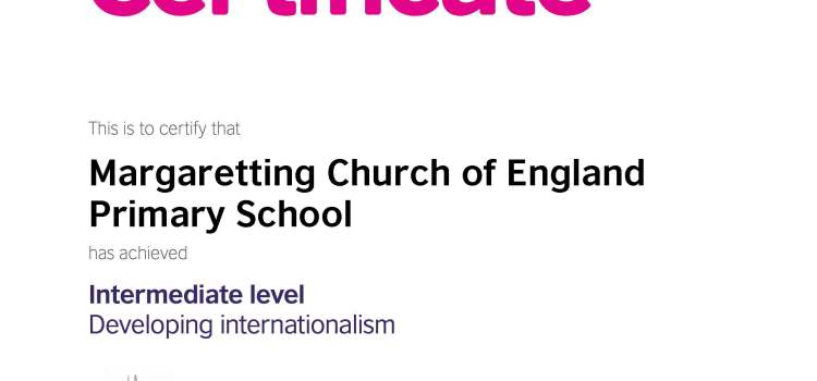 Margaretting Awarded Intermediate Level International School Award from British Council