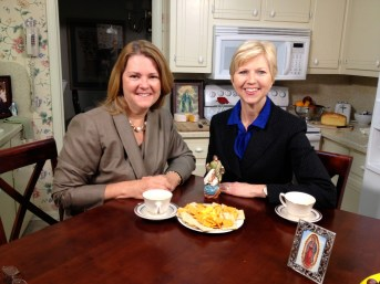 Lisa Hendey and Donna Marie Cooper O'Boyle on the Catholic Mom's Cafe set