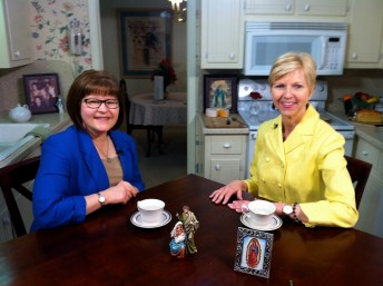 Marge Fenelon and Donna Marie Cooper O'Boyle on the Catholic Mom's Cafe set