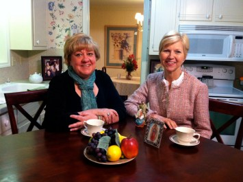 Woodeene Koenig-Bricker and Donna Marie Cooper O'Boyle on the Catholic Mom's Cafe set
