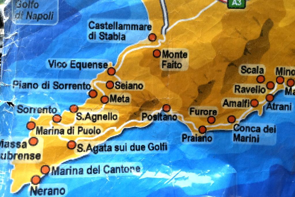 Furore Italy Map.Map Sorrentine Peninsula Margie In Italy