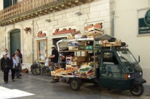 Mobile fruit and vegetable stand in Lecce Photo by Margie Miklas