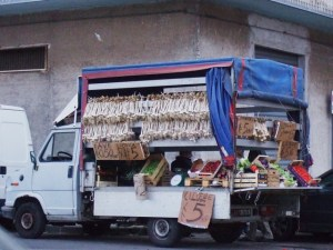Sicily truck with produce Riposto Photo by Margie Miklas