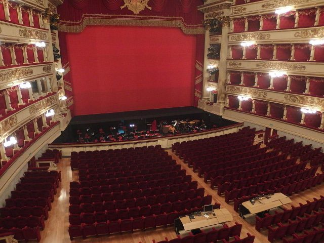 La Scala Source: https://commons.wikimedia.org/wiki/File:Milano,_Teatro_alla_Scala,_interior_01.JPG