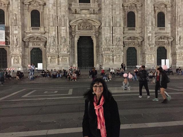 Margie in Milan at night photo by Margie Miklas