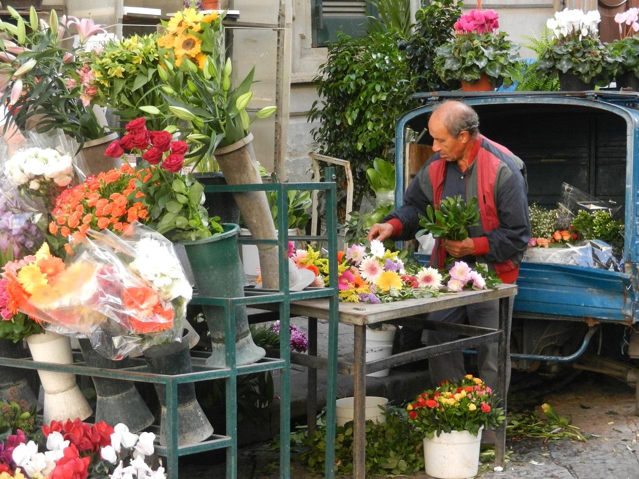 A Flower Vendor in Naples