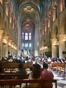 Inside Notre Dame in Paris