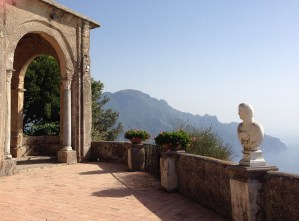 View of Amalfi Coast from belvedere of Villa Cimbrone