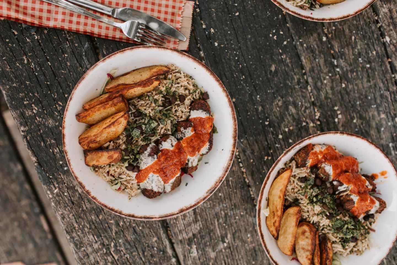 delicious food on ceramic bowls