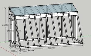 Ein dreidimensionales Modell der Struktur des Gewächshauses. Auf dem Dach ist schon Glas zu sehen.