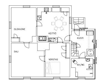Grundriss des Erdgeschosses. Rechts mit LW ist der Boiler bezeichnet, KH/WC ist das Bad