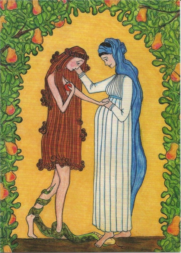 Virgin Mary and Eve Crayon & pencil drawing by Sr. Grace Remington, OCSO © 2005, Sisters of the Mississippi Abbey.