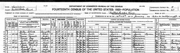 Fay Moses 1920 census