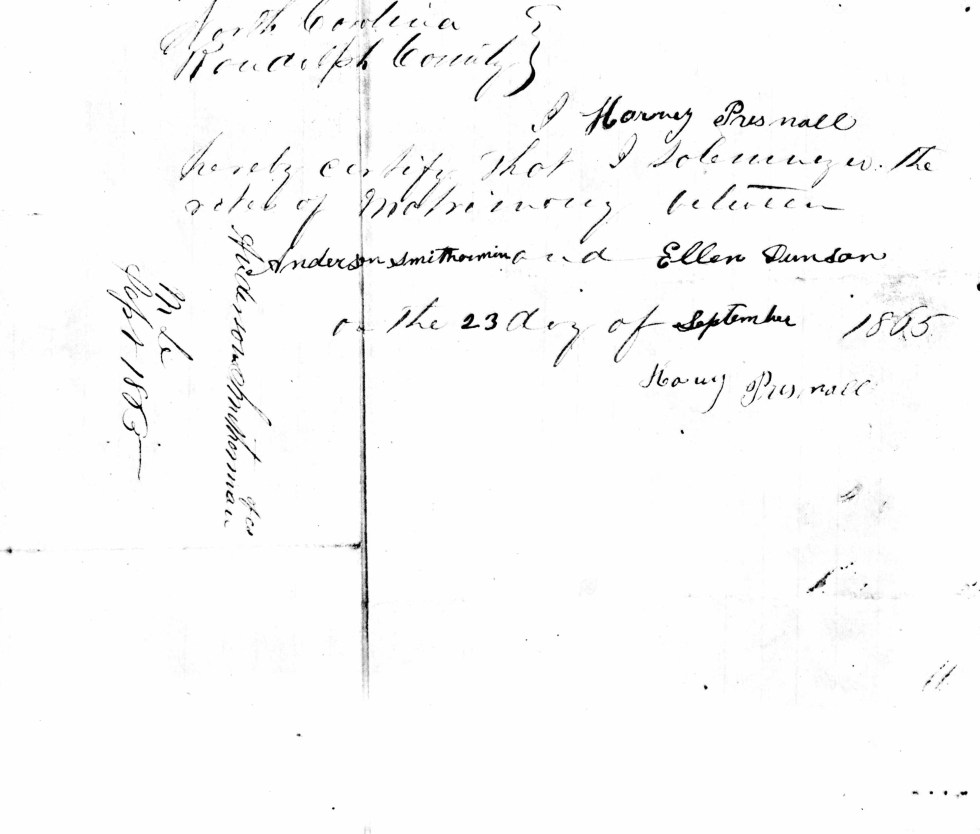 Marriage record of Anderson and Ellen