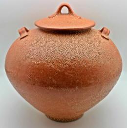 crackle shino stoneware jar by lynn munns