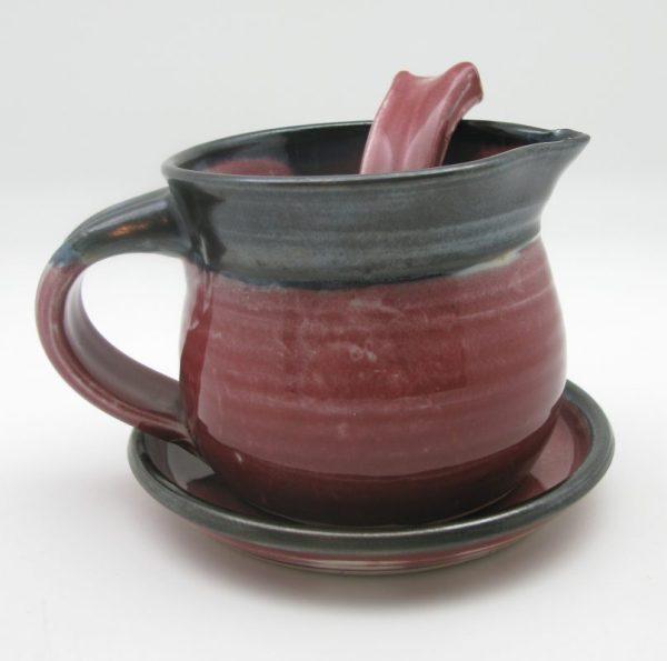 red black Porcelain Gravy Boat by Margo Brown