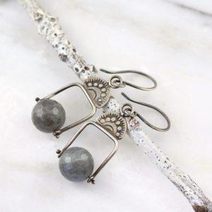 Wanderer Pinned Labradorite Oxidized Silver Earrings