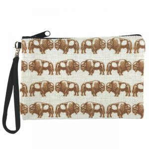 Bison Zippered Pouch clutch