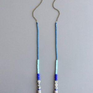 blue mint white Necklace by David Aubrey Designs