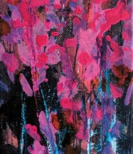 pink purple black Flower Painting by Kelsey McDonnell - 223