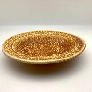 brown white Ash Glazed Oval Dish by Lynn Munns