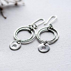 Sterling Silver hand-stamped Mountain Earrings by Andewyn Moon